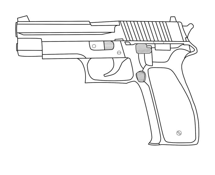 900x734 Drawn Pistol Simple