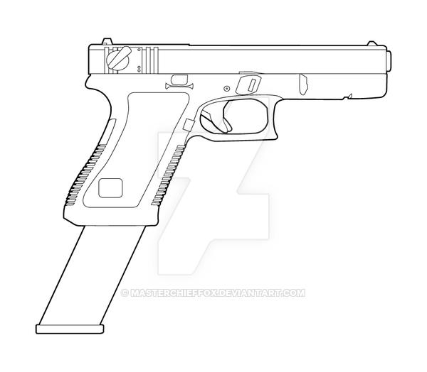 600x524 Glock 18 Lineart By Masterchieffox