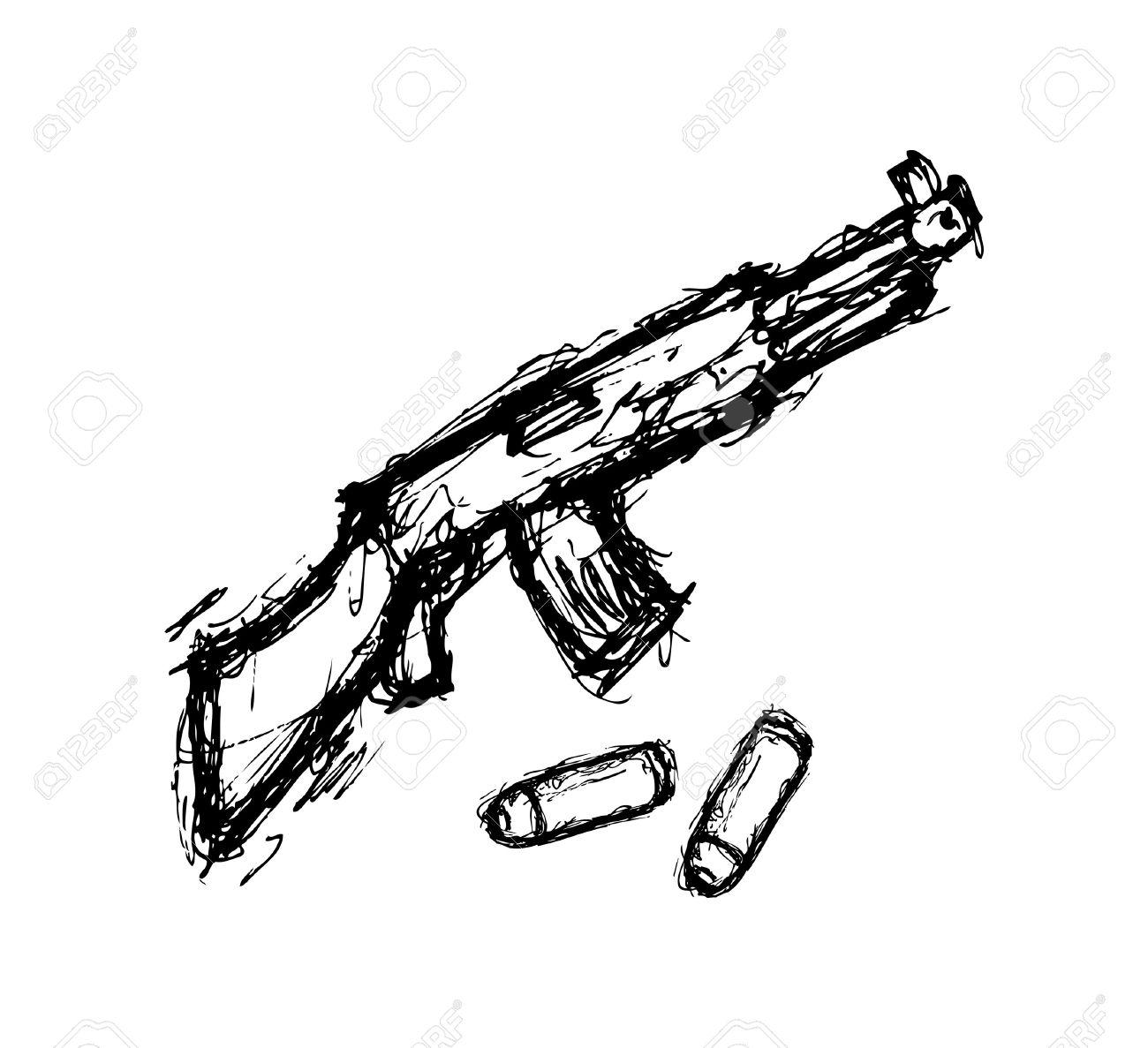 1300x1187 Hand Drawn Gun Royalty Free Cliparts, Vectors, And Stock