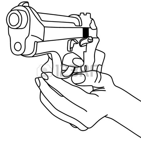450x450 Hand Holding A Handgun Vector Illustration Royalty Free Cliparts