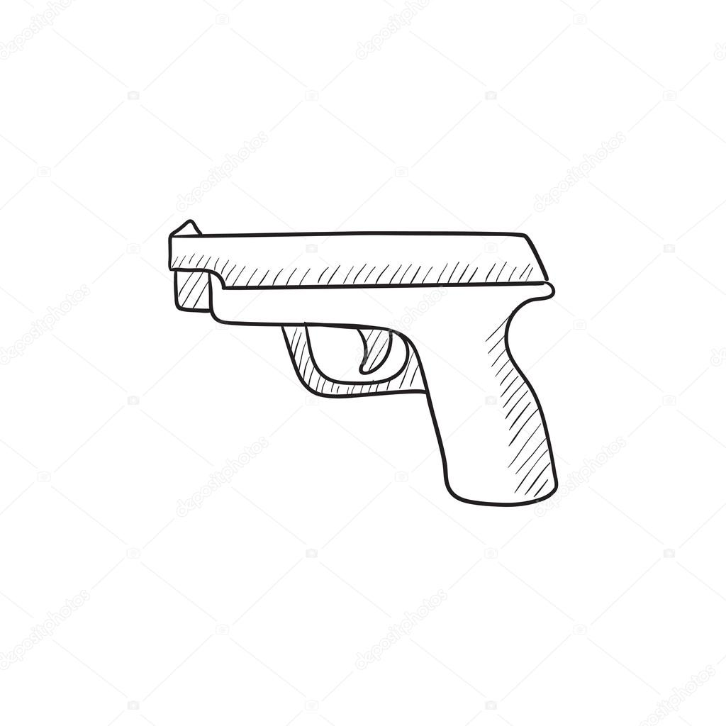 1024x1024 Handgun Sketch Icon. Stock Vector Rastudio