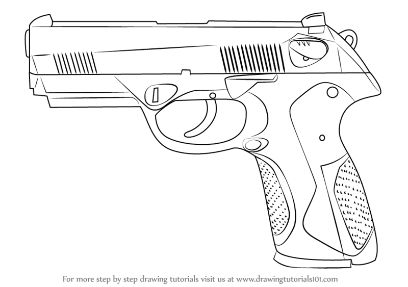 800x563 Learn How To Draw A Beretta Px4 (Pistols) Step By Step Drawing