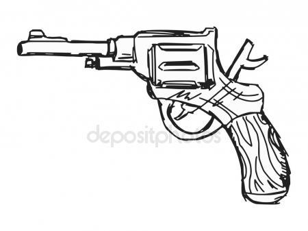 450x337 Vintage Gun. Retro Pistol, Musket. Hand Drawn Sketch Of A Revolver