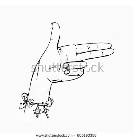 450x470 Drawn Gun Hand Drawing