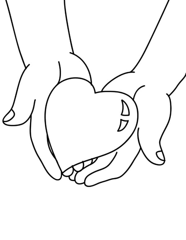 600x775 Hands Holding Big Heart Coloring Pages Hands Holding Big Heart