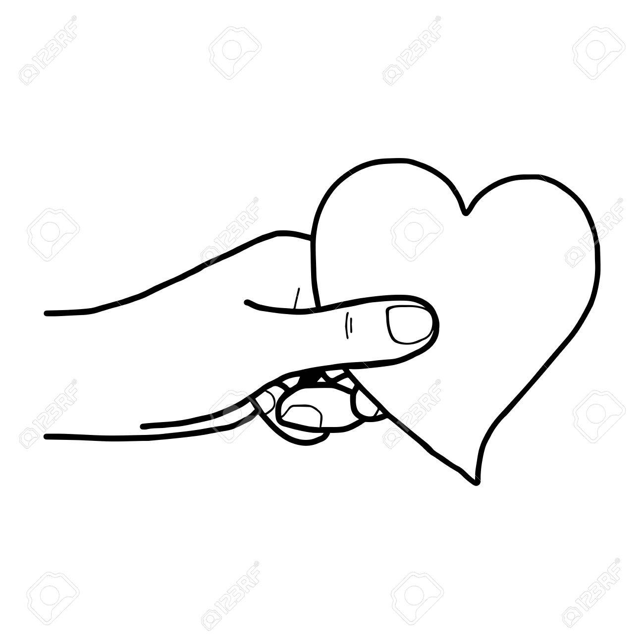 1300x1300 Illustration Vector Hand Draw Doodles Of Hand Holding Heart