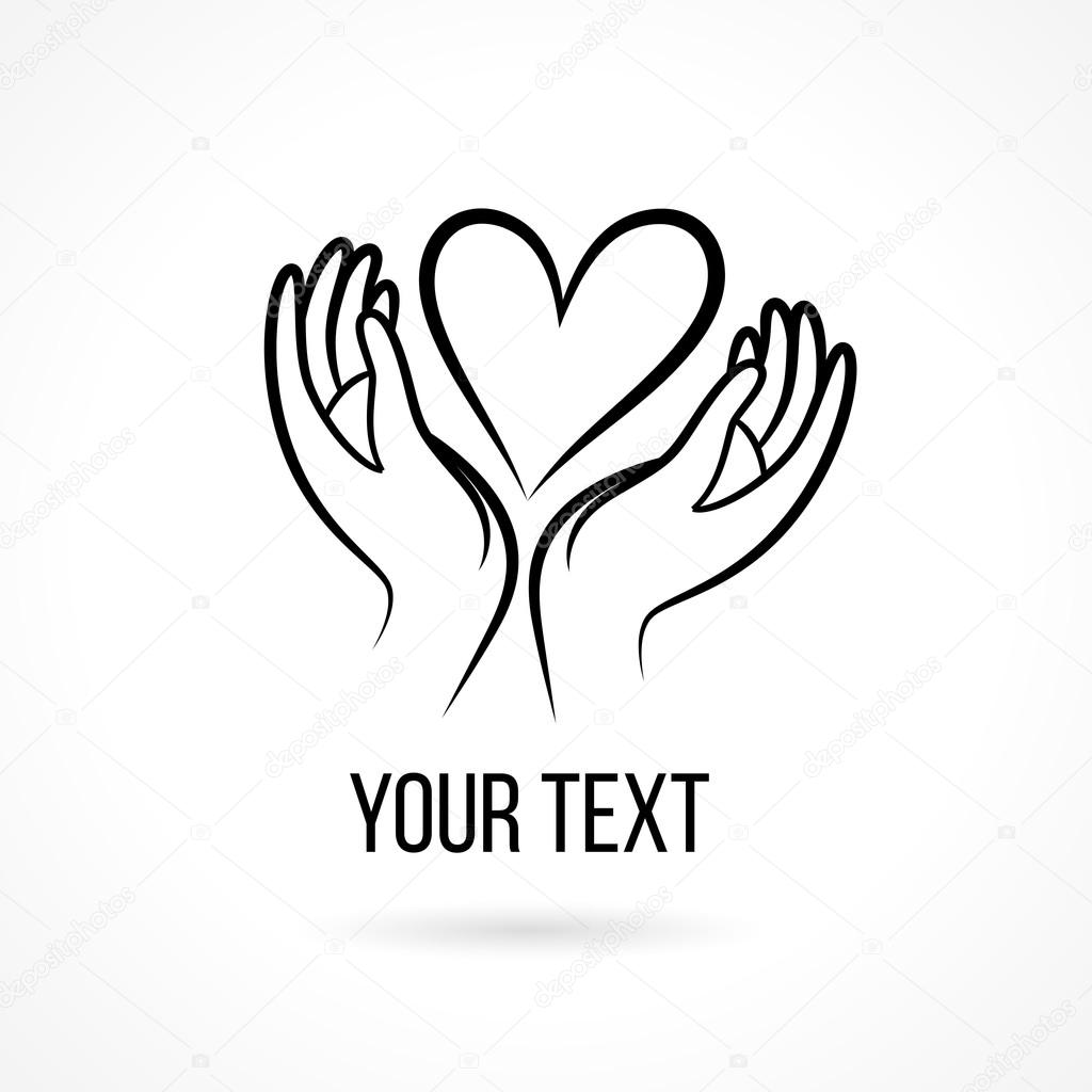 1024x1024 Logo With Hands And Heart Stock Vector Tukkki