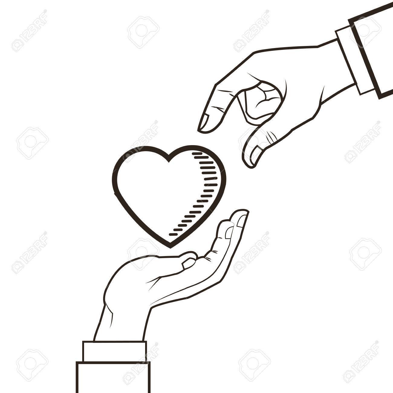 1300x1300 Love Hand Heart Romantic Sketch Icon. Black White Isolated Design