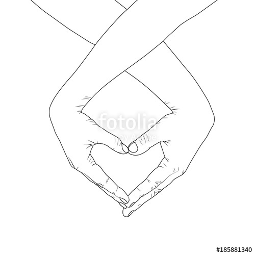 500x500 Loving Couple Makes A Heart With Hands. Silhouette Lines On White