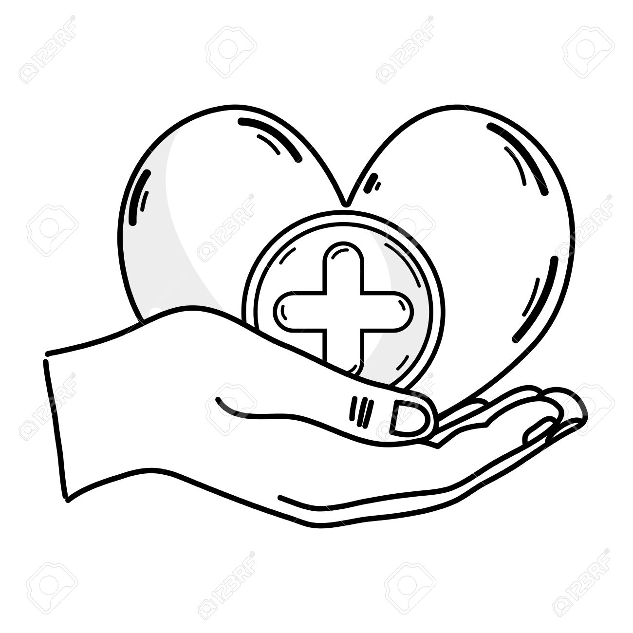 1300x1300 Outline Drawing Of Hands Holding A Heart Shape Medicine