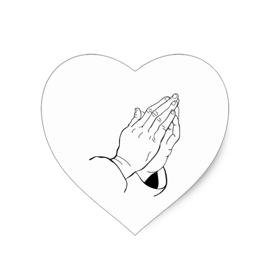 540x540 Praying Hands Heart Sticker