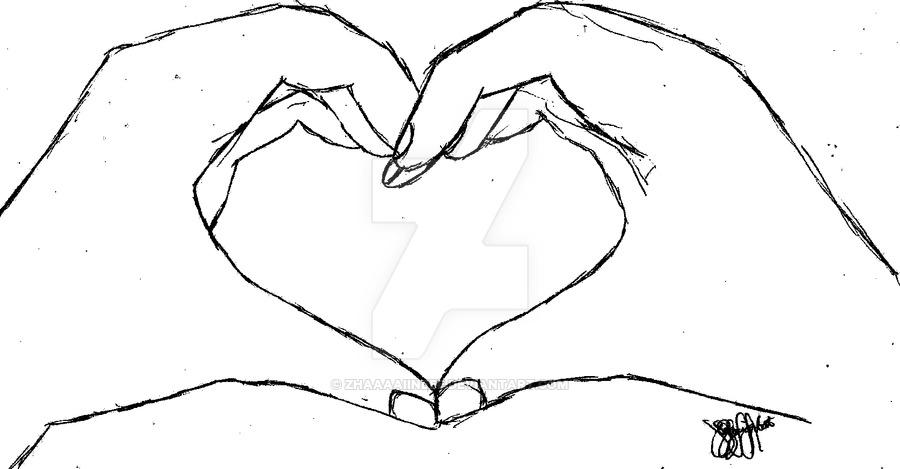 900x469 Hand Heart Monochrome By Zhaaaaiineee