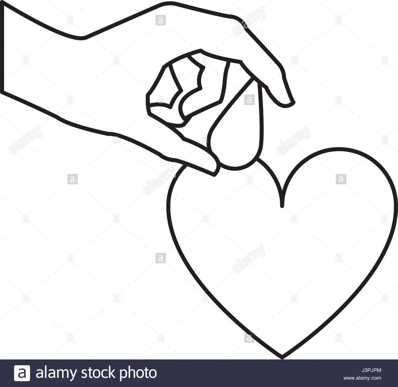 1300x1264 Hand Holding Drop Blood Heart Donation Line Stock Vector Art
