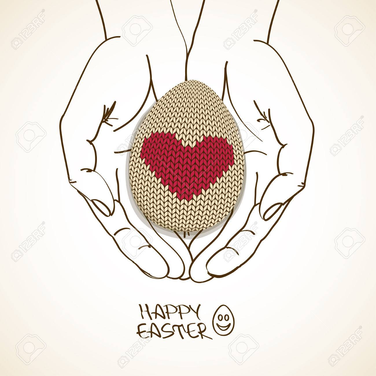 1300x1300 Easter Greeting Card With Sketch Human Hands Holding Volume