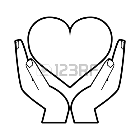 450x450 Hand Holding Heart Icons Set Flat Vector Royalty Free Cliparts