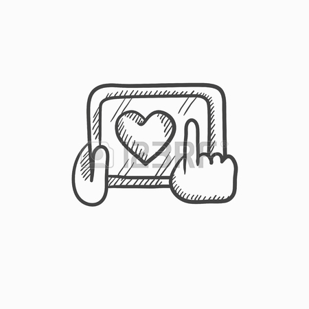 450x450 Hands Holding Tablet With Heart Sign Vector Sketch Icon Isolated