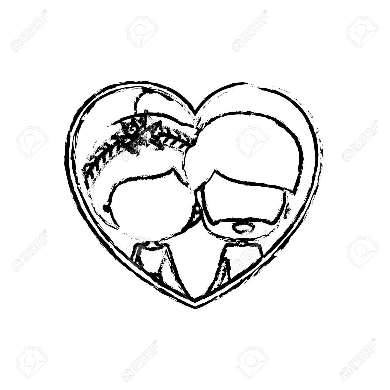 1300x1300 Blurred Silhouette Heart Shape With Caricature Faceless Couple
