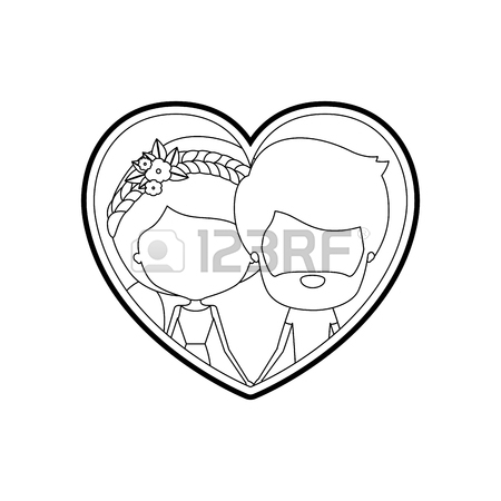 450x450 Sketch Silhouette Heart Shape With Caricature Faceless Couple
