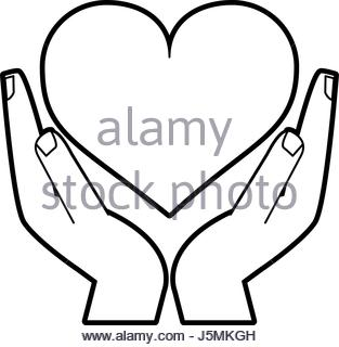 313x320 Hand Holding A Heart Sketch Stock Photo, Royalty Free Image