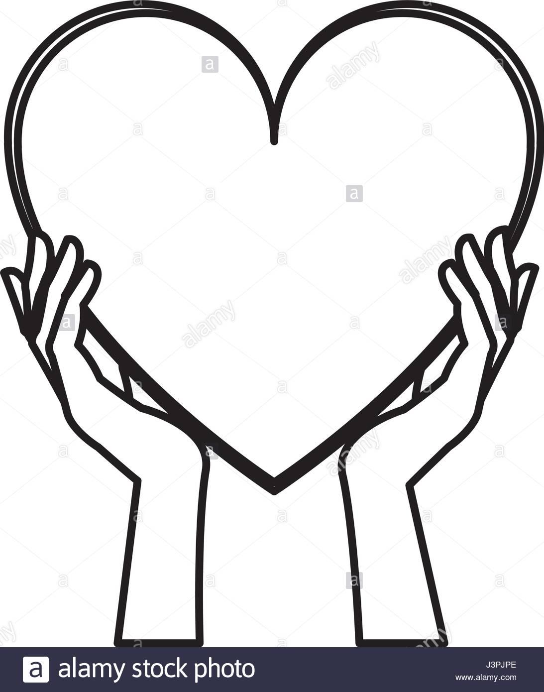 1093x1390 Hands Holding Heart Blood Donation Line Stock Vector Art