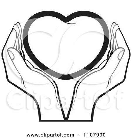 450x470 Clipart Black And White Hands Holding A Heart
