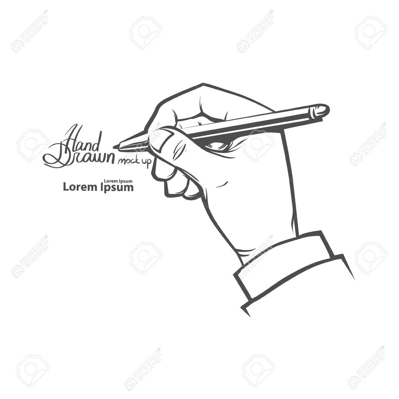 1300x1300 A Sketch Of A Hand Holding A Pen Hands Holding Pen, Writing