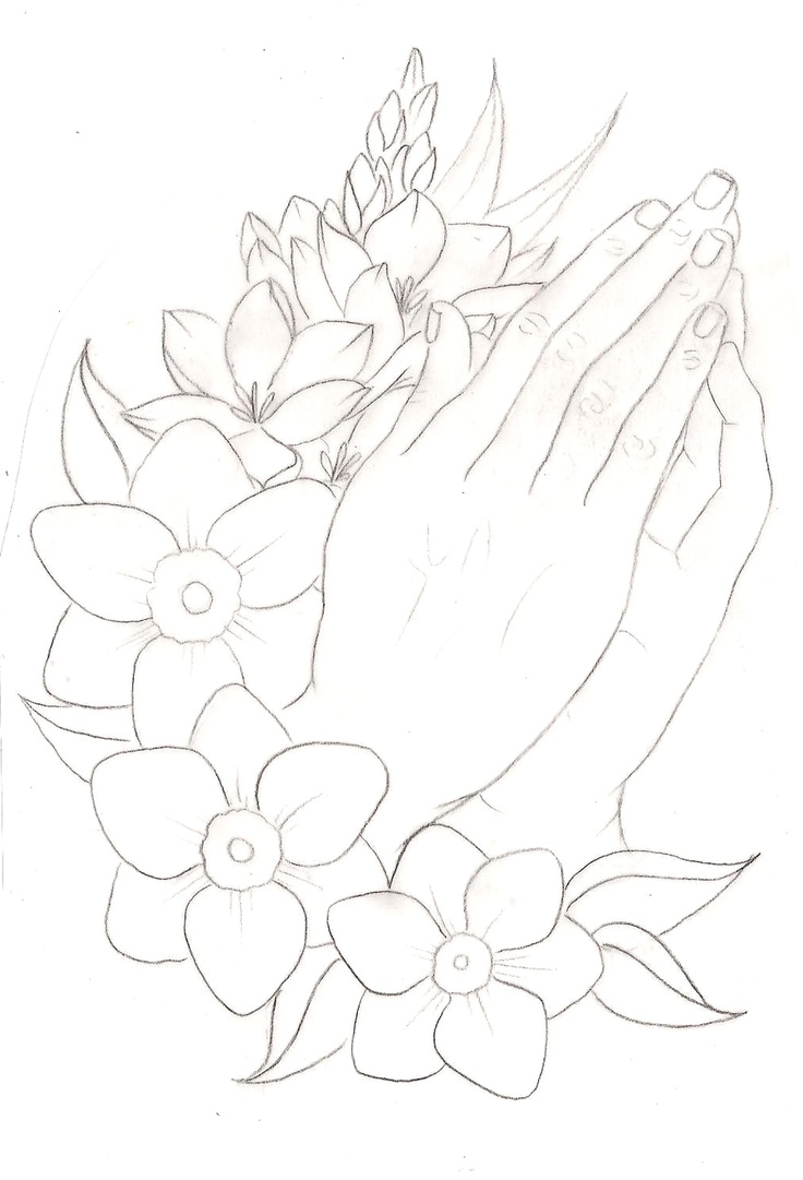 736x1081 Praying Hands With Rosary And Roses Drawings