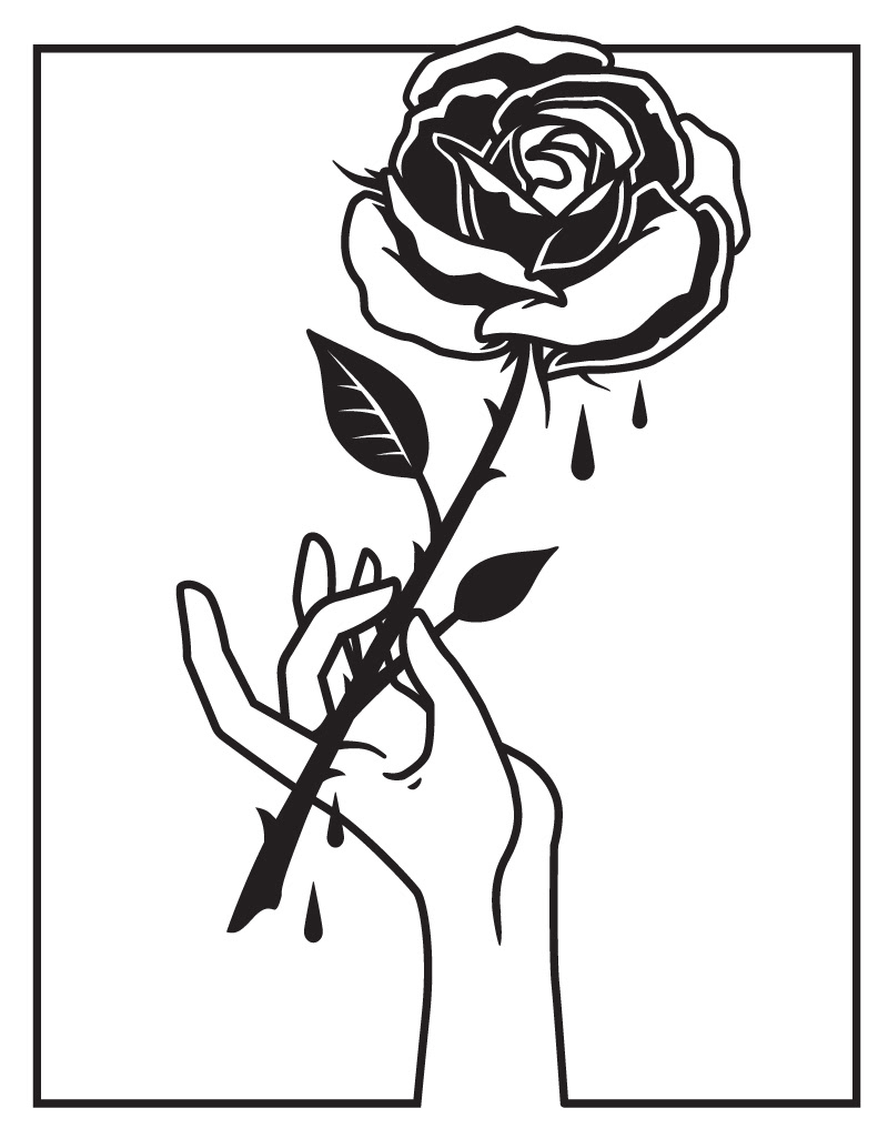 Hand Holding A Rose Drawing At Free For Personal Flower Line Diagram Simple Of Bud Stock Vector Flowers Coloring Page Printable 800x1026 Andre Spengler