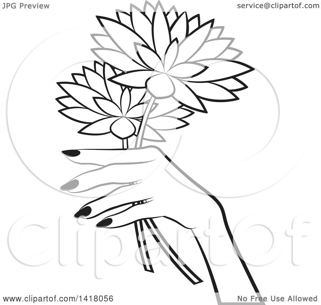 1080x1024 Clipart Of A Black And White Womans Hand Holding Flowers