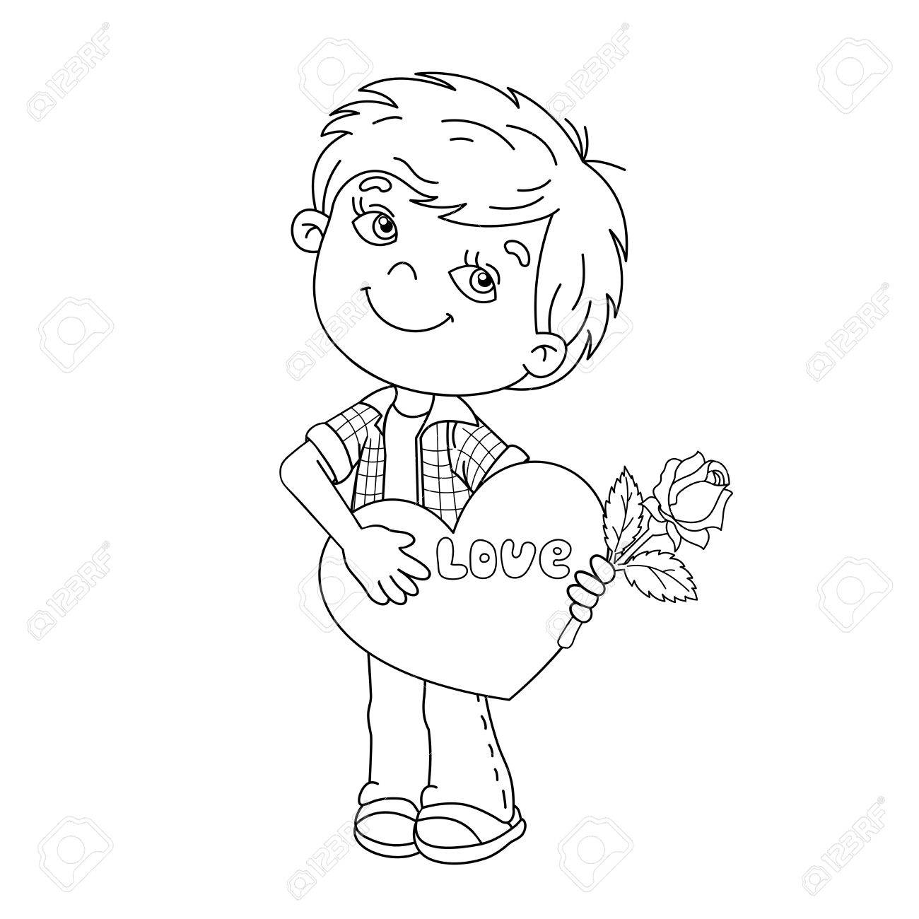 1300x1300 Coloring Page Outline Of Cartoon Boy With Rose In Hand With Heart