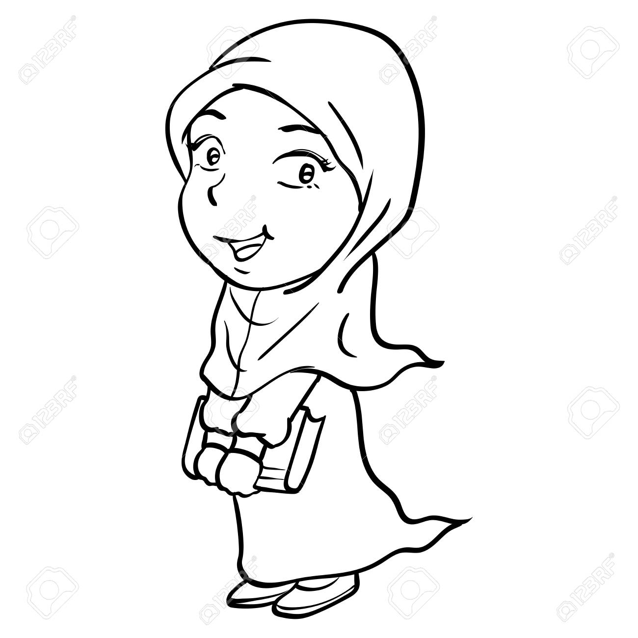 1300x1300 Hand Drawing Of Cartoon Smiley Muslim Girl Holding Book, Isolated