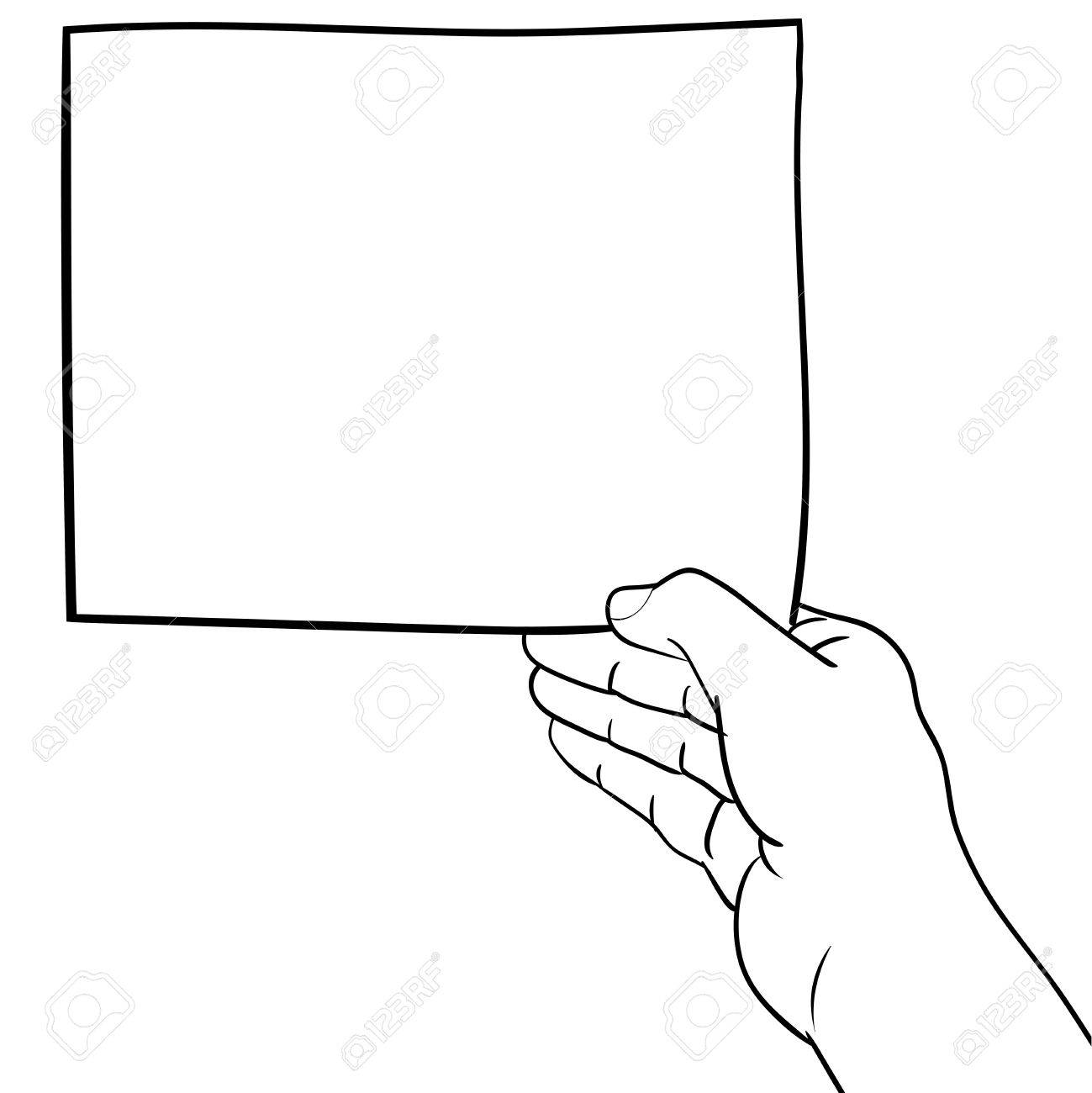 1299x1300 Hand Drawn Sketch Of Hand Holding Blank Paper, Black And White