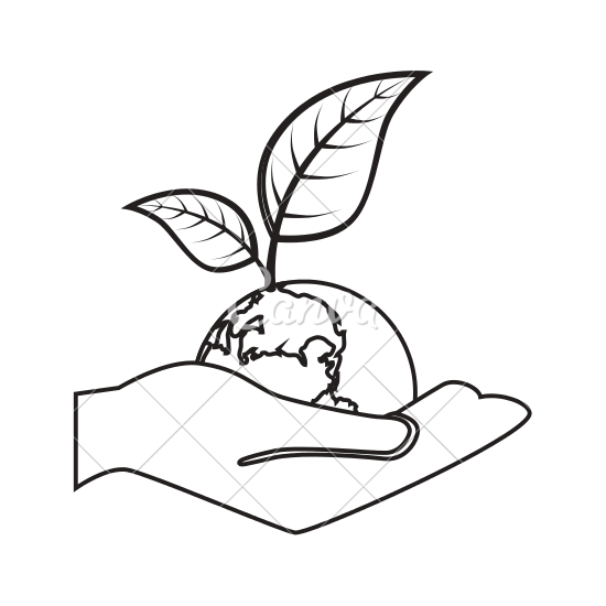 550x550 Hand Holding Earth With Leaves