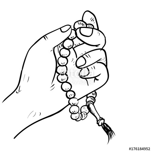 500x500 Hand Drawn Hand Holding Beads Drawing Vector Stock Image
