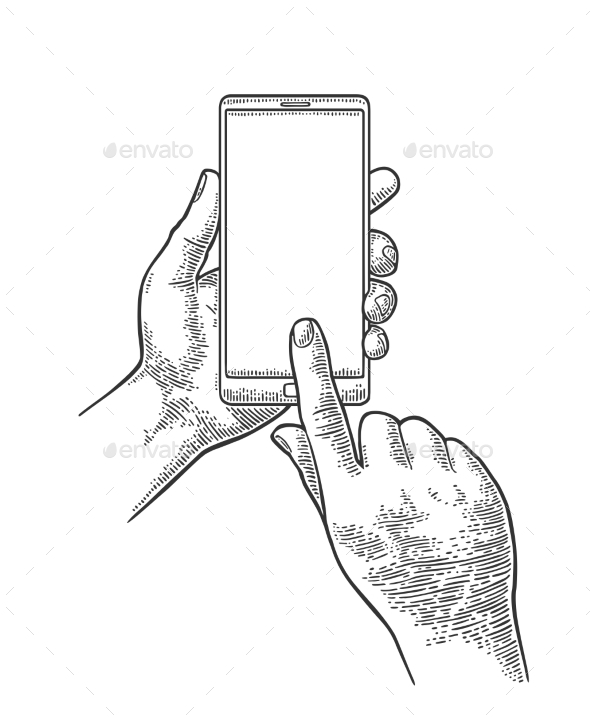 590x717 Male Hand Holding Phone Vintage Engraving By Morevector Graphicriver