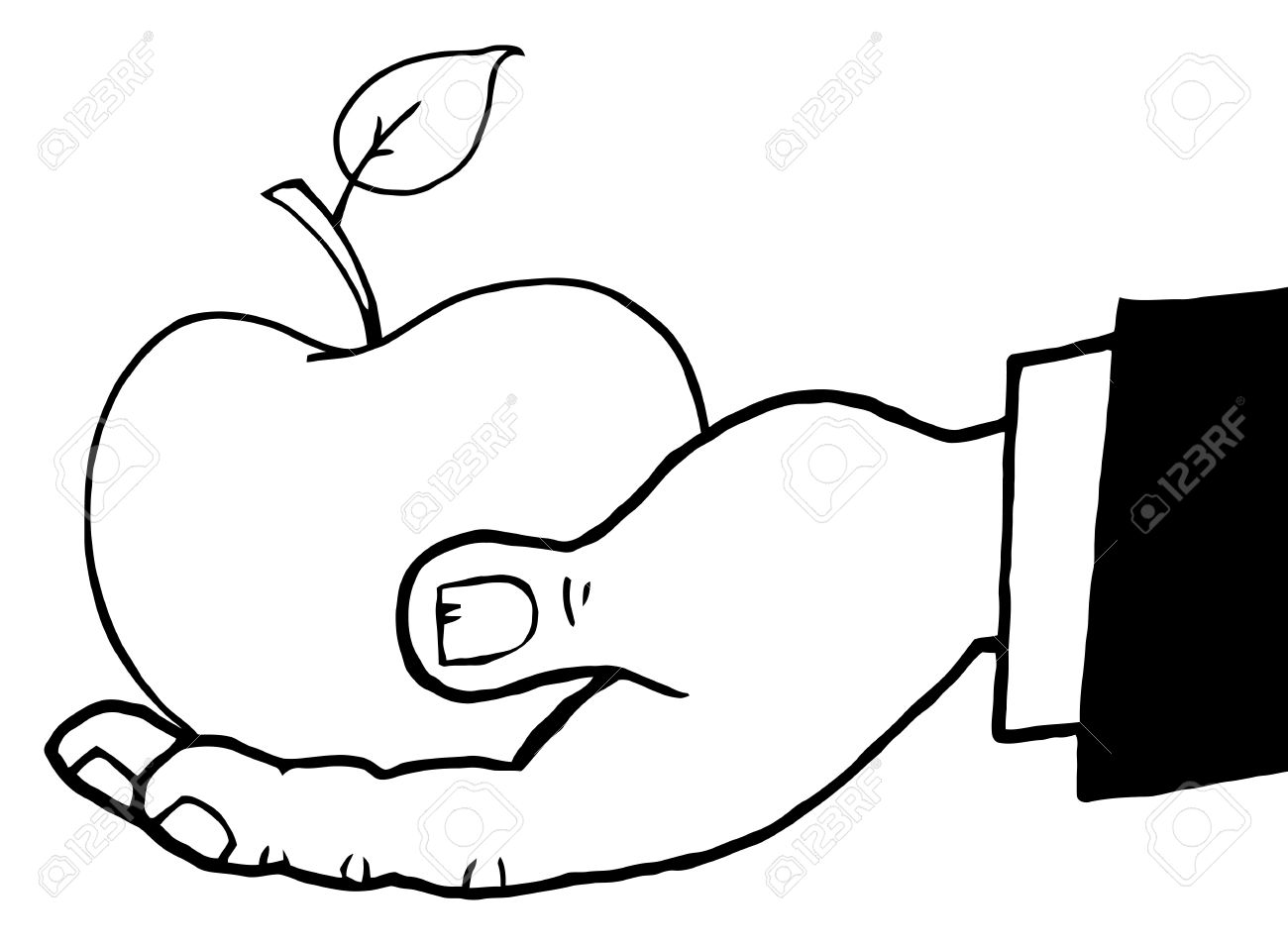 1300x956 Outlined Hand Holding A Red Apple Royalty Free Cliparts, Vectors