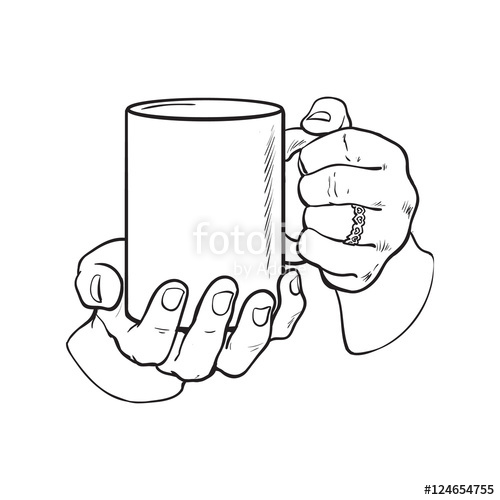 500x500 Well Groomed Female Hand Holding A Cup With Tea Or Coffee, Sketch