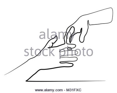 400x320 Continuous Line Drawing Of Holding Hands Together Stock Vector Art
