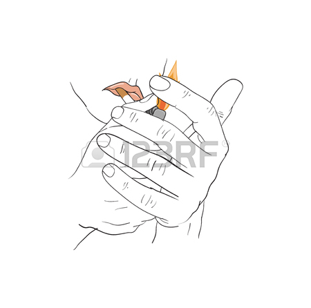 Hand Holding Cigarette Drawing