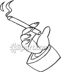 254x300 Hand Holding A Burning Cigarette Royalty Free Clipart Picture