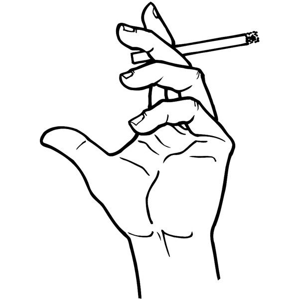 600x600 Hand Holding A Cigarette Vinyl Sticker. Customize On Line. Hands