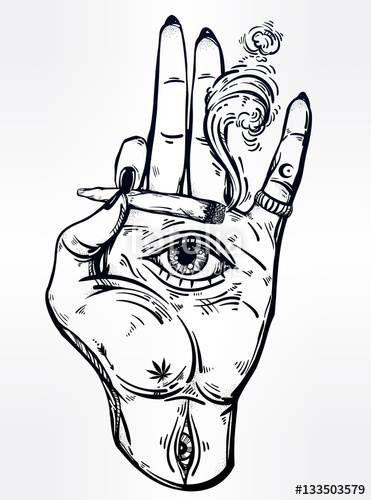 371x500 Hand Holding A Joint Or Cigarette With An Eye. Stock Image