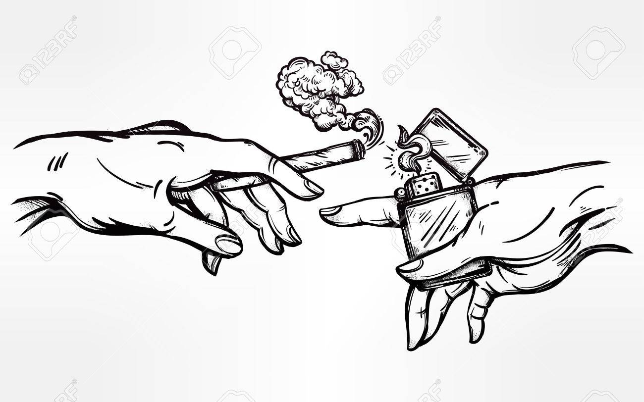 1300x812 Hands With Weed Joint Or Cigarette And A Lighter. Royalty Free