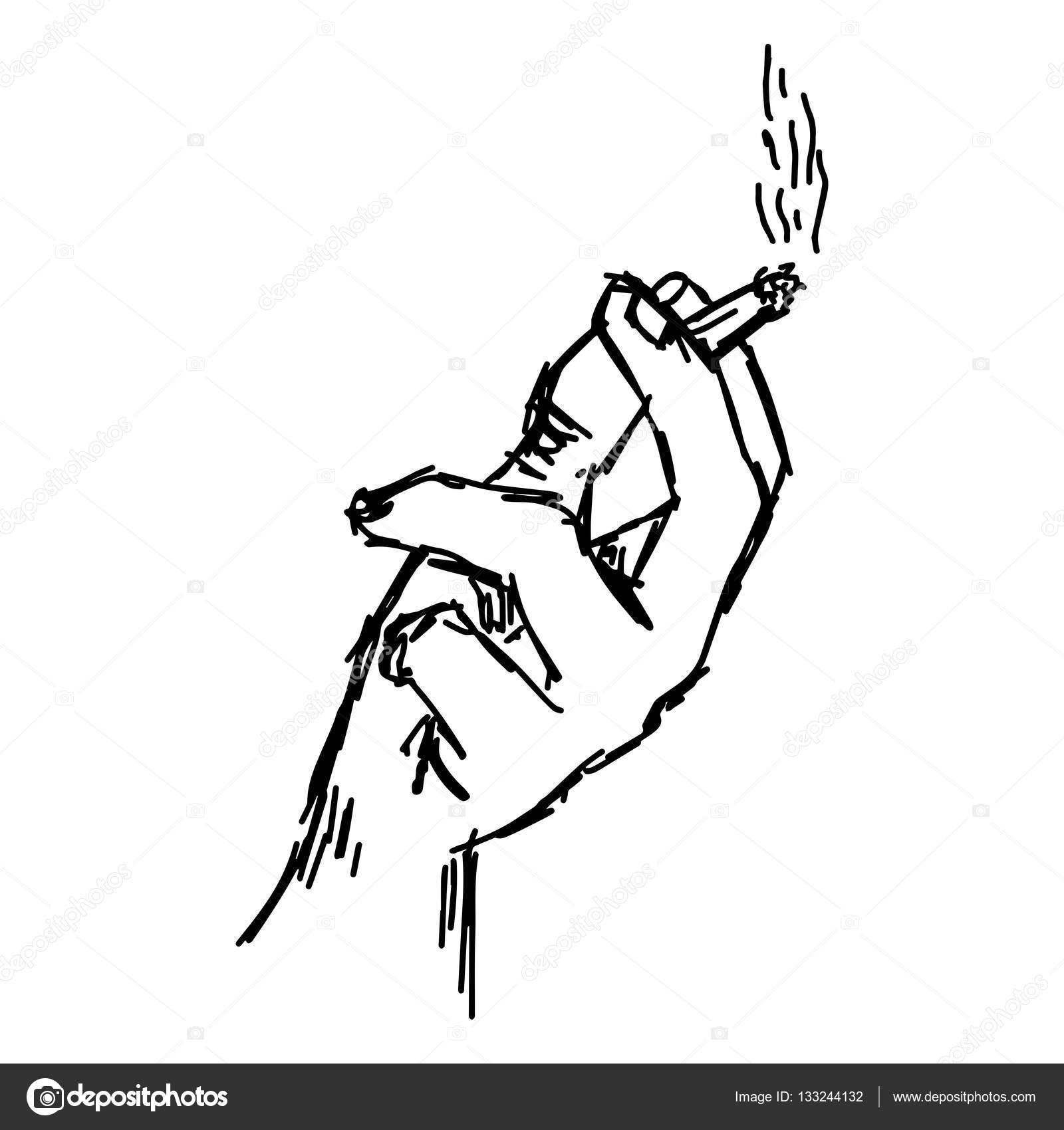 1600x1700 Illustration Vector Hand Drawn Of Hand Holding Cigarette
