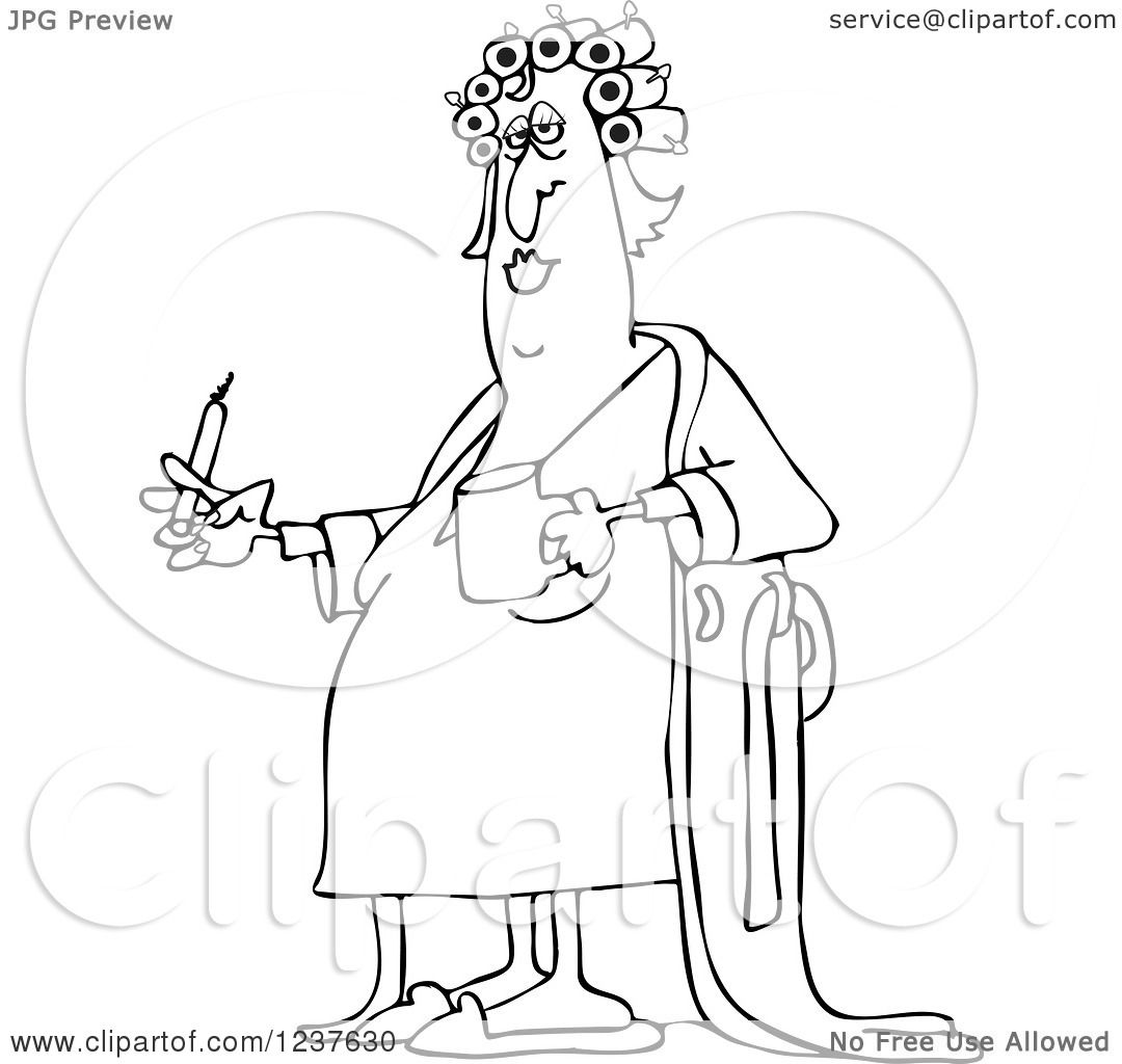 1080x1024 Clipart Of A Black And White Fat Woman In Curlers And A Robe