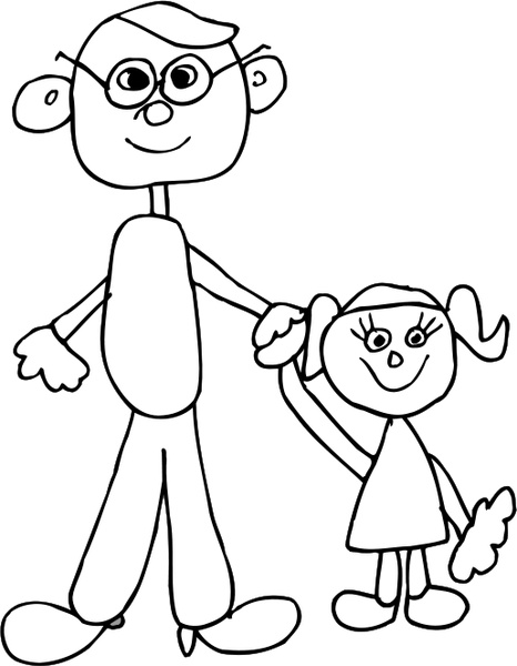 466x600 Dad Holding Daughters Hand Free Vector In Open Office Drawing Svg