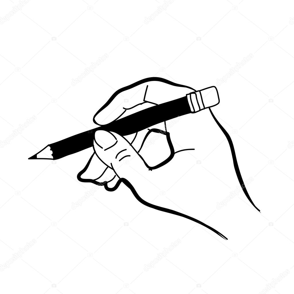 1024x1024 Hand Drawing Hand Holding Pencil Stock Vector Atthameeni