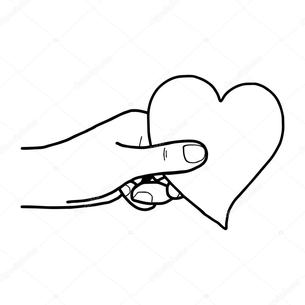 1024x1024 Illustration Vector Hand Draw Doodles Of Hand Holding Heart