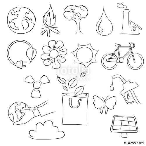 500x500 Eco Friendly Concept Vector Illustration, Hand Drawing Icon