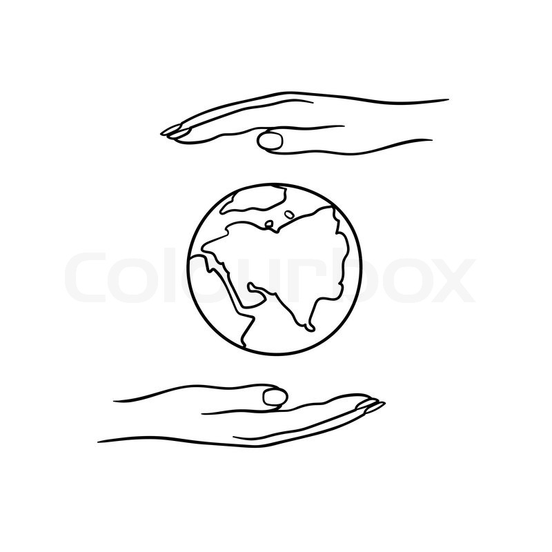 800x800 A Pair Of Hands Holding Planet Earth Stock Vector Colourbox